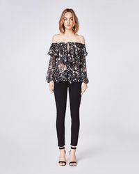 Nicole Miller Midnight Sky Off The Shoulder Ruffle Blouse - Black