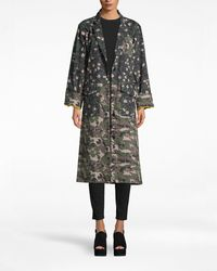 Nicole Miller Flower Patch Denim Oversized Jacket - Multicolour
