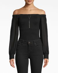Nicole Miller Ponte Combo Bodysuit - Black