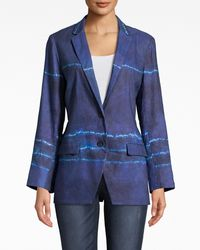 Nicole Miller Shibori Stripe Blazer - Blue