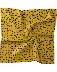 Nicole Miller Leopard Silk Blend Scarf - Yellow