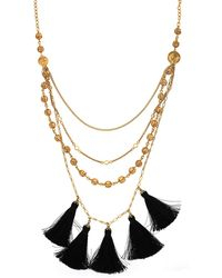 Nicole Miller - Panama Bead And Coin Tassel Necklace - Lyst