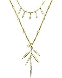 Nicole Miller - Pave Pod Fringe Two Layered Necklace - Lyst
