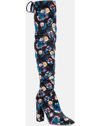Nicole Miller Rozilyn Velvet Poppy Print Over The Knee Boot - Blue