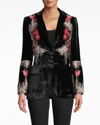 Nicole Miller Flower Fire Embroidered Velvet Blazer - Black