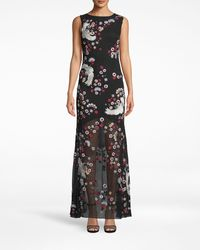 Nicole Miller Crane And Cherry Blossom Gown - Black