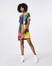 Nicole Miller Abstract Paint Shirt Dress - Multicolor