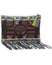 Nicole Miller Panama Tiles Fringe Clutch Bag - Multicolor
