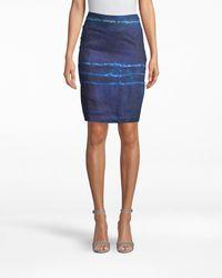 Nicole Miller Shibori Stripe Pencil Skirt - Blue