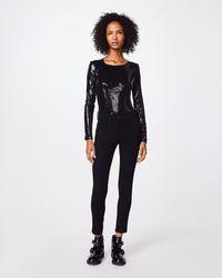 Nicole Miller Sequin Long Sleeve Bodysuit - Black
