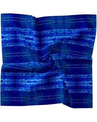 Nicole Miller Shibori Stripe Silk Blend Scarf - Blue