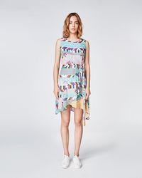 Nicole Miller - Bouquet Stripe Faux Wrap Dress - Lyst