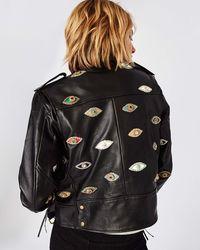 Nicole Miller Evil Eye Embellished Leather Jacket - Black