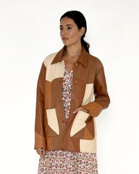 Nicole Miller Patchwork Leather Jacket - Brown