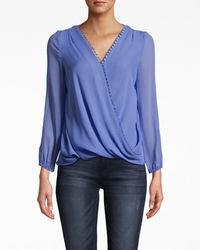 Nicole Miller Solid Silk Long Sleeve Blouse With Button Loops - Blue