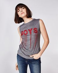 """Nicole Miller Embroidered """"boys"""" Tank - Gray"""
