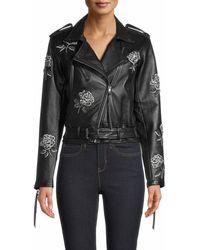 Nicole Miller Embellished Rose Moto Jacket - Black