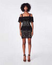 Nicole Miller Swirl Lace Mini Dress - Black