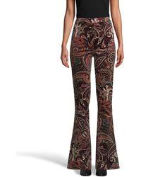 Nicole Miller Paisley Velveteen Bell Bottom Pant - Multicolor