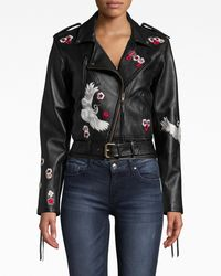 Nicole Miller Crane And Cherry Blossom Leather Moto Jacket - Black