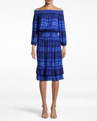 Nicole Miller - Shibori Stripe Smocked Off The Shoulder Dress - Lyst