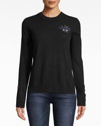 Nicole Miller Evil Eye Candy Crew Neck Sweater - Black