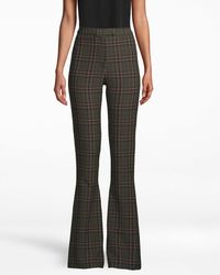 Nicole Miller Jagger Plaid Bell Bottom Pant - Green