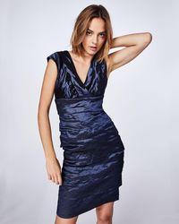 Nicole Miller Techno Metal V-neck Dress - Blue