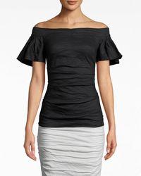 Nicole Miller - Solid Cotton Metal Off The Shoulder Top - Lyst