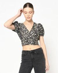 Nicole Miller Cheetah Puff Sleeve Top - Black