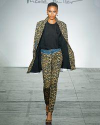 Nicole Miller - Furry Leopard Denim Pant - Lyst