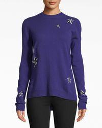 Nicole Miller Star Cashmere Crew Neck Sweater - Blue
