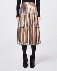 Nicole Miller Two Tone Pleated Skirt - Metallic