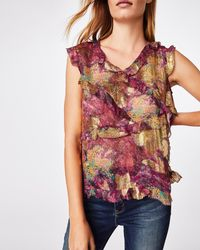 Nicole Miller Abstract Sequin Ruffle Top - Multicolor