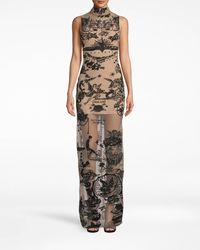 Nicole Miller Tattoo Mesh Turtleneck Gown - Multicolour