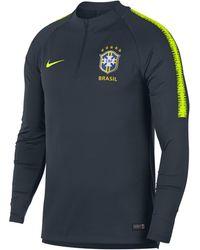 Nike Brazil Cbf Dri-fit Squad Drill Long-sleeve Football Top - Blue
