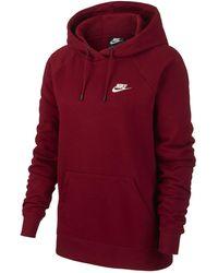 Nike Felpa pullover in fleece con cappuccio Sportswear Essential - Rosso