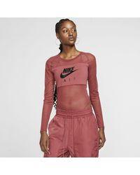 Nike Air Womens Long-sleeve Mesh Bodysuit - Red