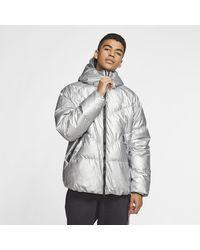Nike Sportswear Down-Fill Puffer-Jacke mit Camo-Design und Kapuze für - Mettallic