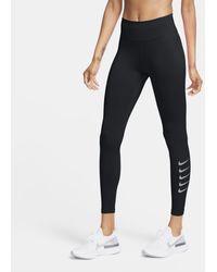 Nike Leggings da running a 7/8 a vita media Swoosh Run - Nero