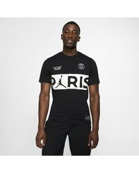 Nike T-shirt con scritta Paris Saint-Germain - Nero