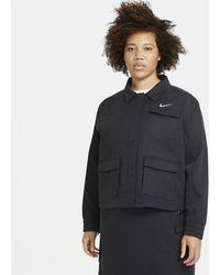 Nike Sportswear Swoosh Damenjacke (große Größe - Schwarz