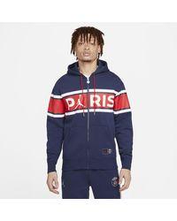 Nike - Paris Saint-germain Full-zip Fleece Hoodie Blue - Lyst