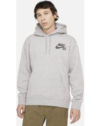 Nike Felpa pullover da skateboard con cappuccio SB Icon - Grigio