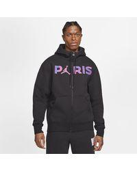 Nike - Paris Saint-germain Full-zip Fleece Hoodie Black - Lyst