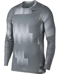 ffa67fbb7 Lyst - Nike Pro Hyperwarm Lite Fitted Long Sleeve Shirt in Black for Men