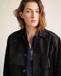 Nili Lotan Fringed Leather Jacket - Black