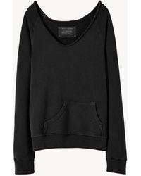 Nili Lotan Tiara V Neck Sweatshirt - Black