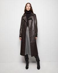 Nili Lotan Leather Alexander Trench - Brown