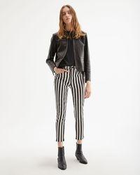 Nili Lotan Rigid High-rise Striped Slim-leg Jeans - Black